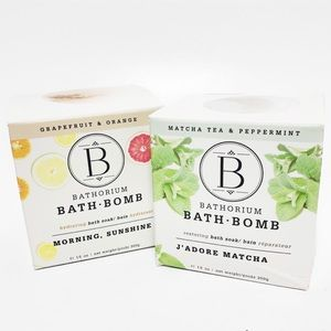 Bathorium Bath Bombs Set of 2 - Morning Sunshine & J'Adore Matcha New In Box
